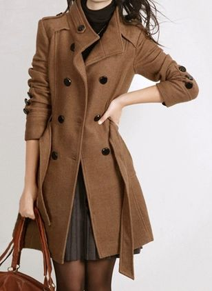 Long Sleeve High Neckline Sashes Buttons Pockets Coats (107561970)