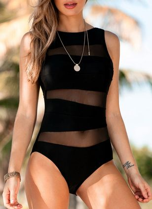 Polyester Solid One-piece Swimwear