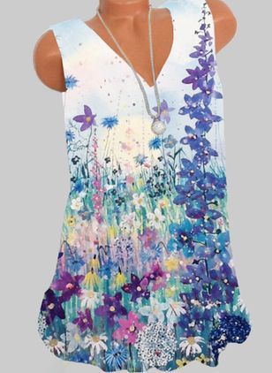 Floral Casual V-Neckline Sleeveless Blouses (147066549)