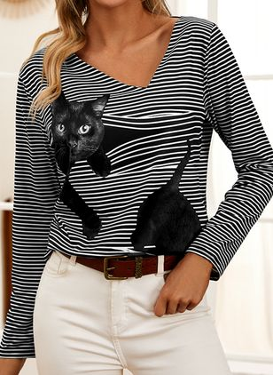 Animal Casual Oblique Neckline Long Sleeve Blouses (146775087)