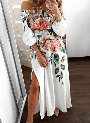 Casual Floral Off the Shoulder Maxi X-line Dress (146981568)