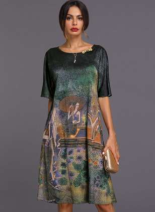 Chinese Style Geometric Tunic Round Neckline A-line Dress (1353942)