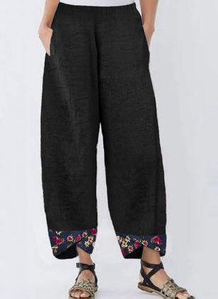 Casual Loose Pattern Pockets Mid Waist Polyester Pants (1525908)