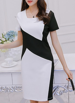 Polyester Color Block Short Sleeve Above Knee Dresses