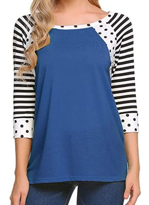 Color Block Round Neck 3/4 Sleeves Casual T-shirts (107805699)