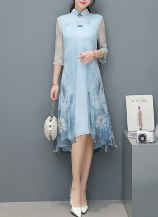 Cotton Floral Half Sleeve High Low Casual Dresses