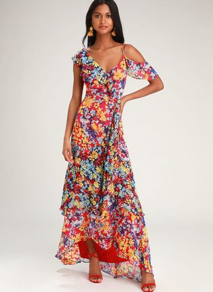 Color Block Short Sleeve Maxi X-line Dress