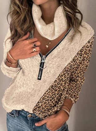 V-Neckline Leopard Casual Loose Regular Zipper Sweaters (146901501)