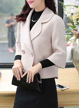 Polyester 3/4 Sleeves Lapel Coats