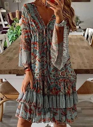 Casual Floral Tunic V-Neckline Shift Dress (5242947)