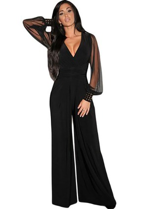 Cotton Blends Solid Long Sleeve Flare Sleeve Jumpsuits & Rompers