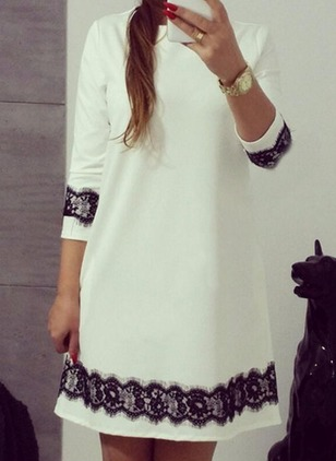 Color Block Appliques Tshirt Long Sleeve Sheath Dress