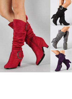 Women's Buckle Zipper Round Toe Kitten Heel Boots