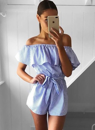 Cotton Stripe Short Sleeve Casual Jumpsuits & Rompers