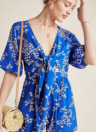 Floral Short Sleeve Jumpsuits & Rompers