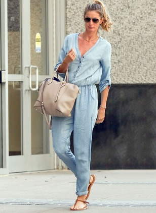 Polyester Solid 3/4 Sleeves Casual Jumpsuits & Rompers