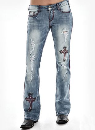 Casual Bootcut Lage taille Denim Jeans (146741992)