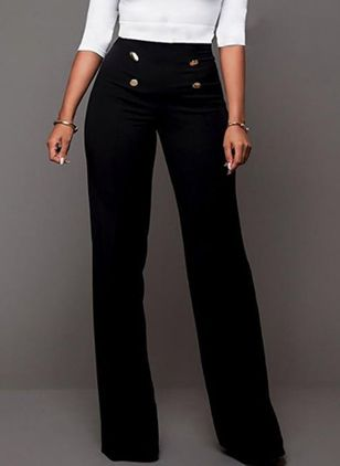 Casual Straight Buttons High Waist Polyester Pants (147006363)