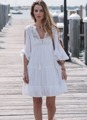 Solid Lace Peasant Boat Neckline Shift Dress