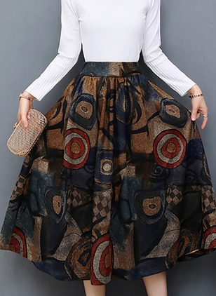 Polyester Color Block Mid-Calf Casual Pattern Skirts