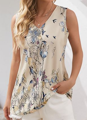 Floral Casual V-Neckline Sleeveless Blouses (147207919)