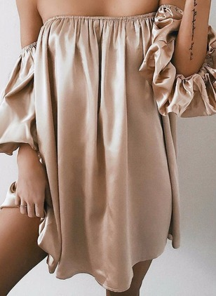 Solid Off the Shoulder 3/4 Sleeves Shift Dress