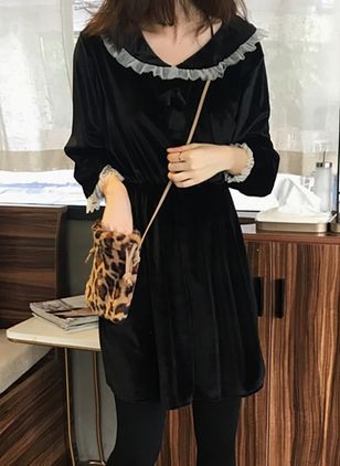 Solid 3/4 Sleeves Above Knee Dress