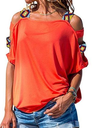 Solid Round Neck Short Sleeve Casual T-shirts (146964370)