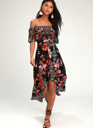 Elegant Floral Off the Shoulder Knee-Length X-line Dress (1305781)