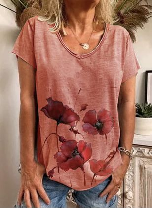 Floral Casual Round Neckline Short Sleeve Blouses (4458399)