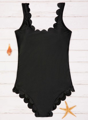 Nylon Solid One-piece Swimwear