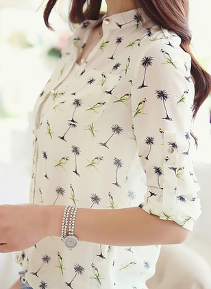 Floral Casual Spandex Collar Long Sleeve Blouses