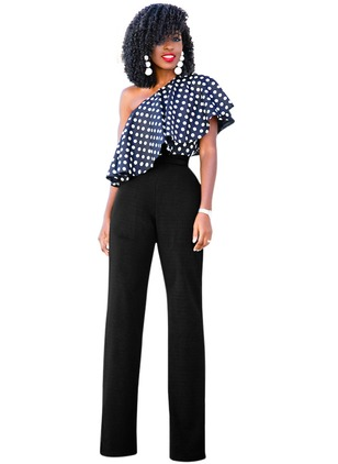 Silk Polka Dot Short Sleeve Flare Sleeve Jumpsuits & Rompers