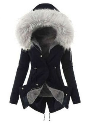 Long Sleeve Hooded Sashes Buttons Removable Fur Collar Coats (108088878)