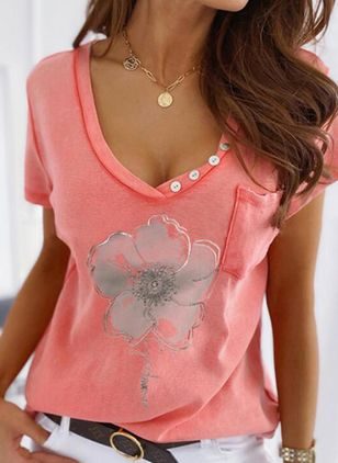 Floral V-Neckline Short Sleeve Casual T-shirts (147059885)