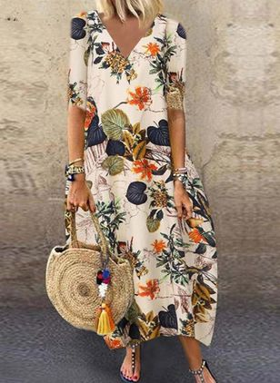 Casual Floral Shirt Round Neckline A-line Dress (101241517)