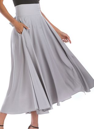 Solid Maxi Elegant Pockets Skirts (107563938)
