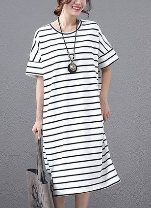 Cotton Stripe Half Sleeve Midi Shift Dress