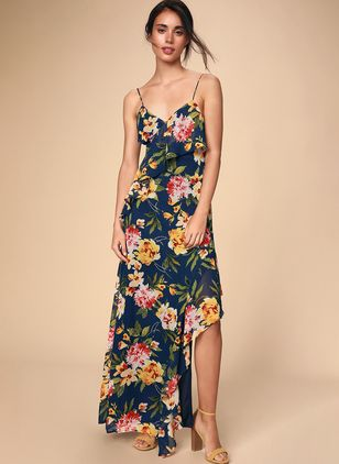 Floral Ruffles Slip Knee-Length X-line Dress