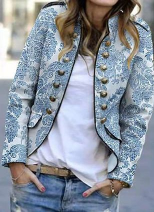Long Sleeve Stand Collar Print Buttons Blazers Coats (4864557)