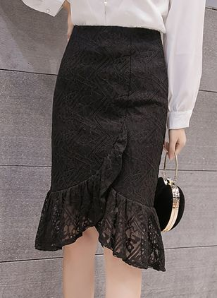 Solid Knee-Length Elegant Ruffles Lace Skirts