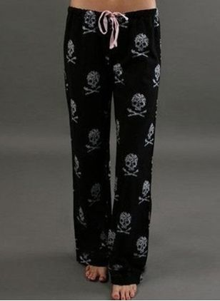 Casual Loose Pattern Mid Waist Polyester Pants (146681573)