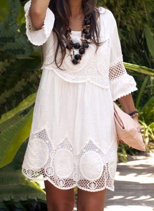 Boho Solid Embroidery Round Neckline Shift Dress (1494573)