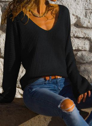V-Neckline Solid Casual Loose Regular Shift Sweaters (107251364)