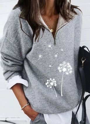 V-Neckline Floral Casual Regular Zipper Sweaters (146643153)