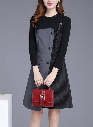 Solid Buttons Long Sleeve Knee-Length Shift Dress