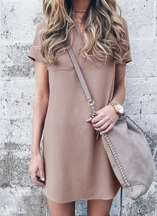Solid Pockets Short Sleeve Shift Dress