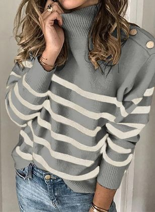 High Neckline Stripe Casual Loose Regular Buttons Sweaters (100547170)