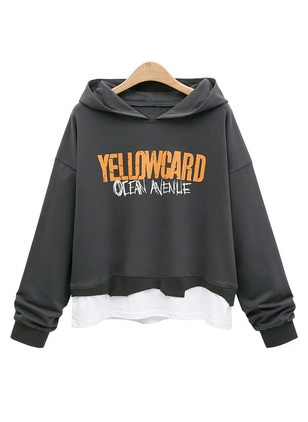 Alphabet Casual Hooded None Sweatshirts