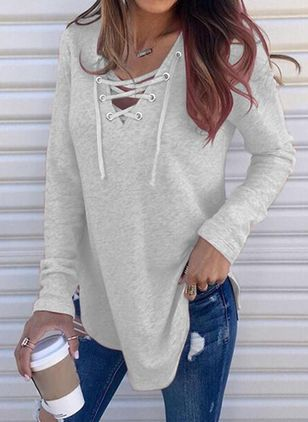 Solid Casual V-Neckline Long Sleeve Blouses (100546508)